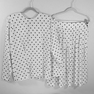 Polka dot skirt & long sleeve co-ord matching set
